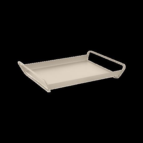 plateau de table metal, plateau de service metal, table de service beige