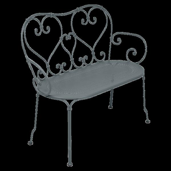 1900 Banquette en métal gris