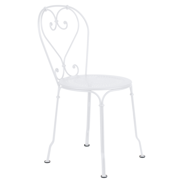 chaise metal, chaise a volute, chaise blanche