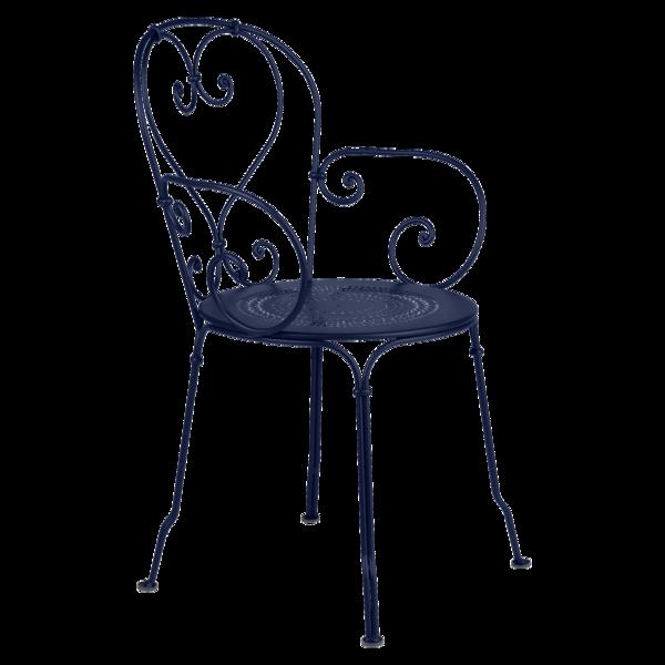 chaise metal, chaise de jardin, chaise a volute, chaise bleu