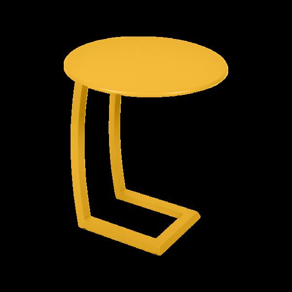 table basse chaise longue jaune, table basse aluminium, table basse bain de soleil