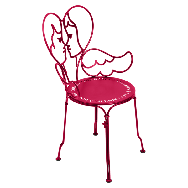chaise ange rose, chaise castelbajac, chaise design, chaise romantique, chaise coeur, chaise metal design