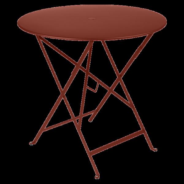 Table Ø 77 cm bistro ocre rouge