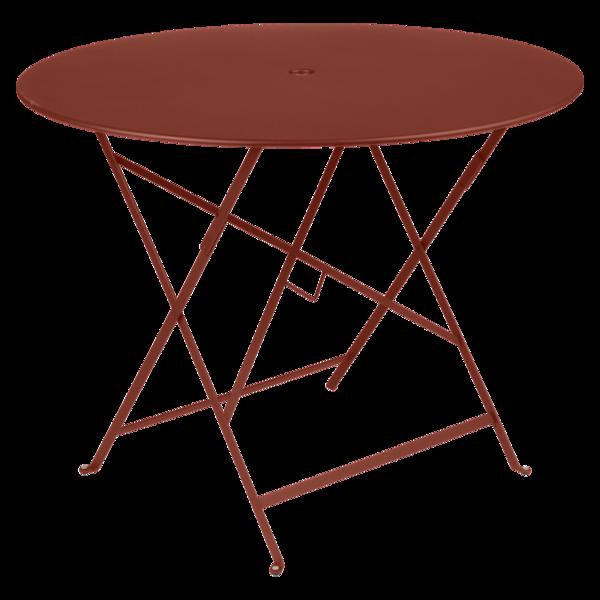 Table Ø 96 cm bistro ocre rouge