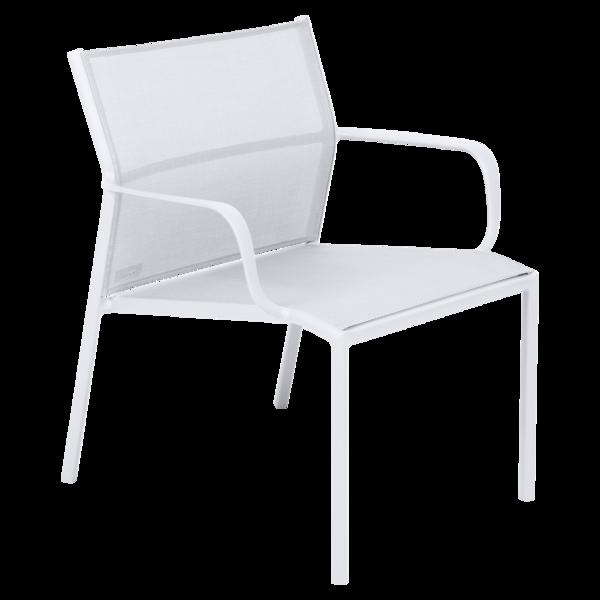 fauteuil bas de jardin, fauteuil bas en métal et toile blanc coton