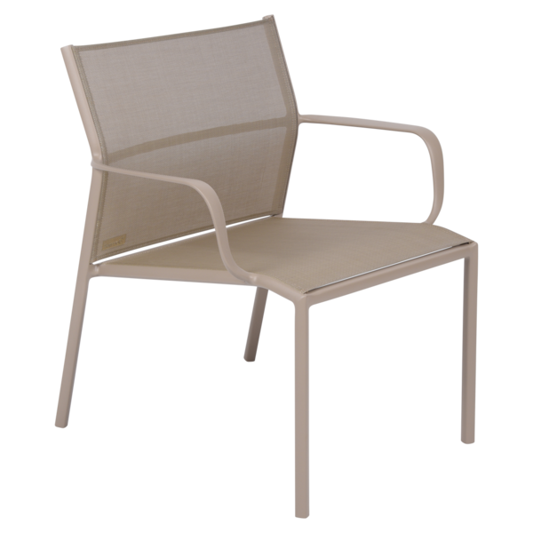fauteuil bas de jardin, fauteuil bas en métal et toile muscade