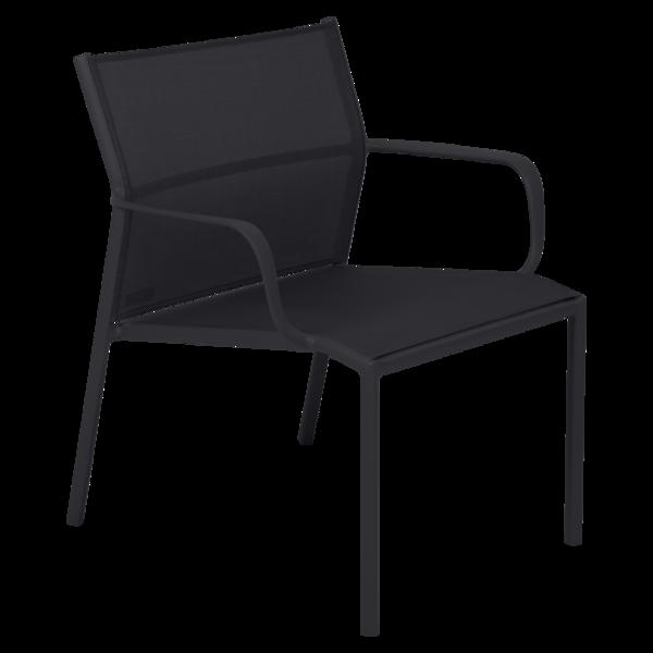 fauteuil bas de jardin, fauteuil bas en métal et toile reglisse