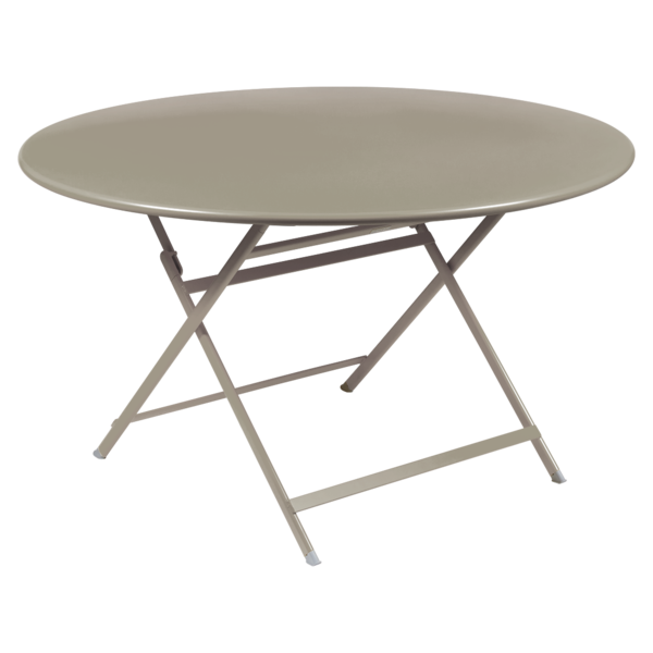 table de jardin pliante, table metal ronde, table metal 7 personnes, table de jardin beige, table metal beige