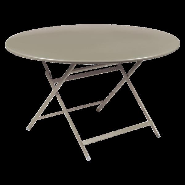table de jardin pliante, table metal ronde, table metal 7 personnes, table de jardin beige, table metal beige