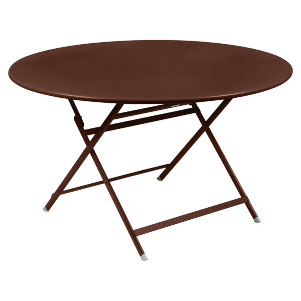 table de jardin pliante, table metal ronde, table metal 7 personnes, table de jardin marron, table metal marron