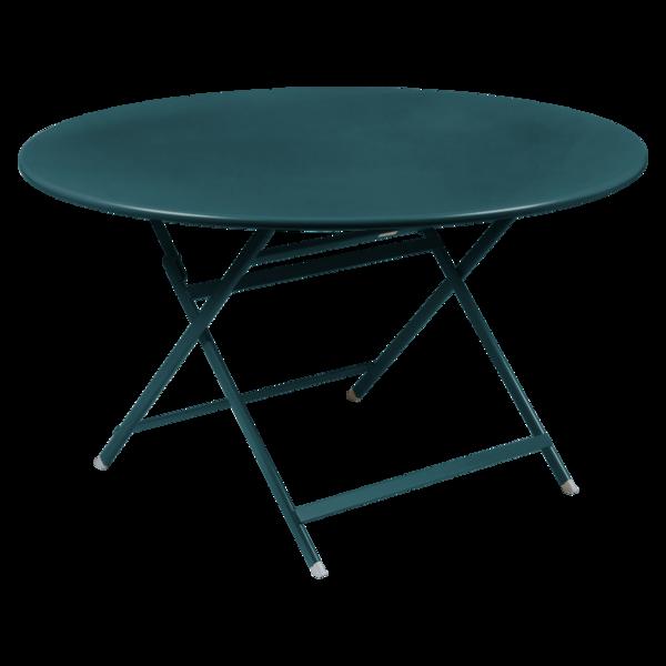 table de jardin pliante, table metal ronde, table metal 7 personnes, table de jardin bleue, table metal bleue