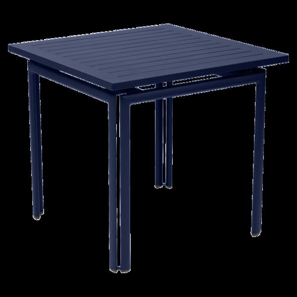 table metal, table de jardin, table rectangulaire, table bleu, table 4 personnes