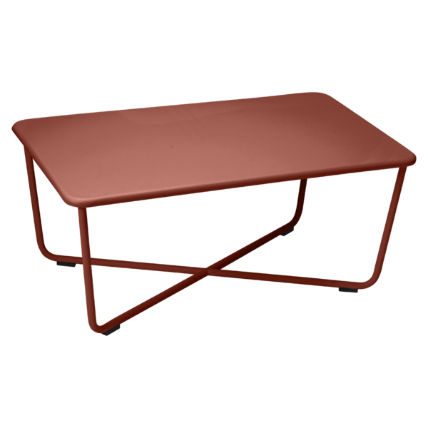 Table basse croisette ocre rouge