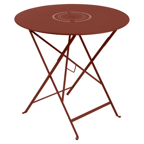Table Ø 77 cm floreal ocre rouge