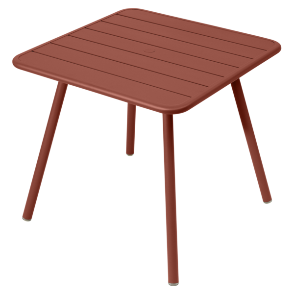 Table 80 x 80 cm - 4 pieds luxembourg ocre rouge