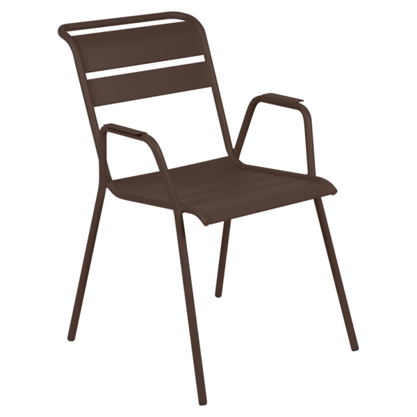 chaise metal, chaise fermob, chaise monceau, fauteuil repas metal, chaise marron