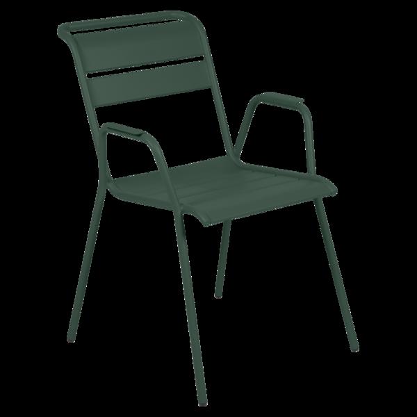 chaise metal, chaise fermob, chaise monceau, fauteuil repas metal, chaise verte