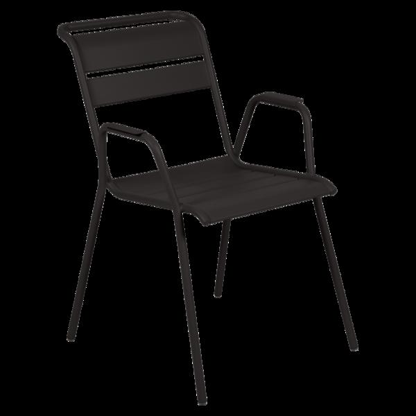 chaise metal, chaise fermob, chaise monceau, fauteuil repas metal, chaise noir