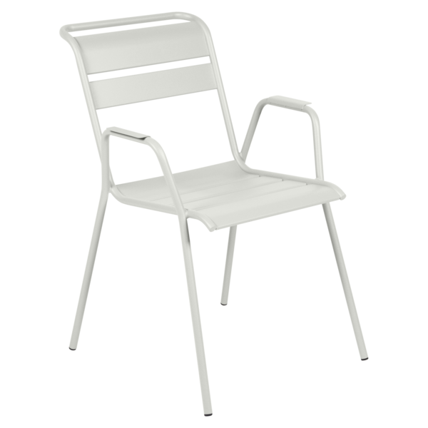 chaise metal, chaise fermob, chaise monceau, fauteuil repas metal, chaise grise