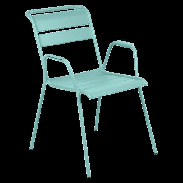 chaise metal, chaise fermob, chaise monceau, fauteuil repas metal, chaise bleu