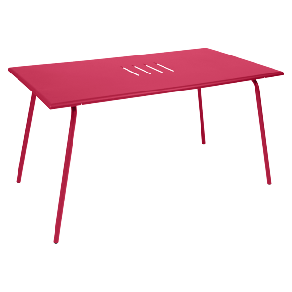 table de jardin, table metal, table rectangulaire, table 6 personnes, table rose