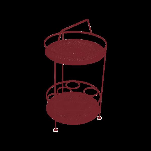 gueridon metal, bar portatif, gueridon fermob, gueridon rouge