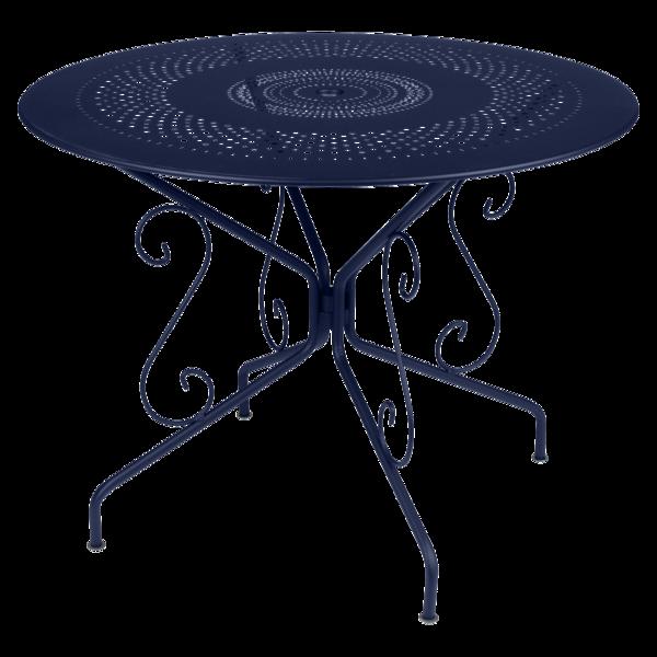 table de jardin, table metal, table ronde metal, table ronde bleu