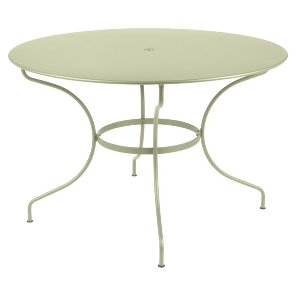 Table ronde 117 cm, table de jardin metal, table jardin 6 personnes