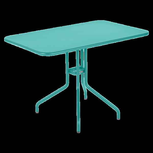 table restaurant, table terrasse, table metal, table pliante metal, mobilier restaurant, table pliante bleu