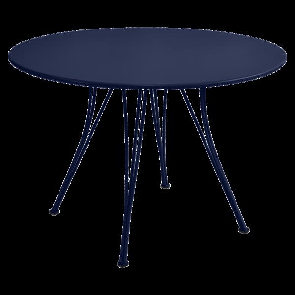 table de jardin, table metal, table ronde, table 5 personnes, table bleu