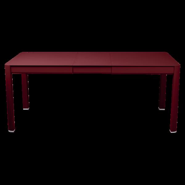 table de jardin rouge, table metal allonge, table metal a rallonge, table metal rectangulaire, table fermob allonge