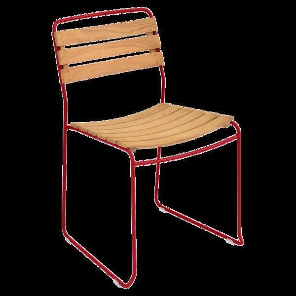 chaise surprising, chaise fermob, chaise bois et metal, chaise de jardin, chaise design, chaise bois et rouge, guggenbichler
