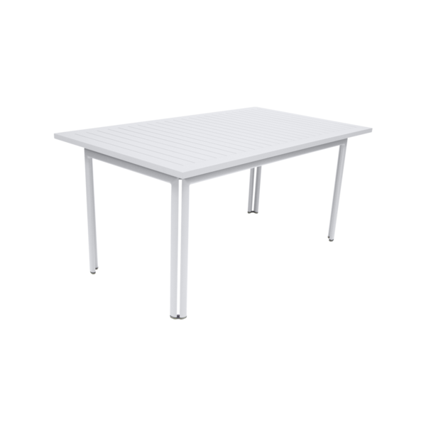 table de jardin, table metal, table rectangulaire, table 6 personnes, table blanche