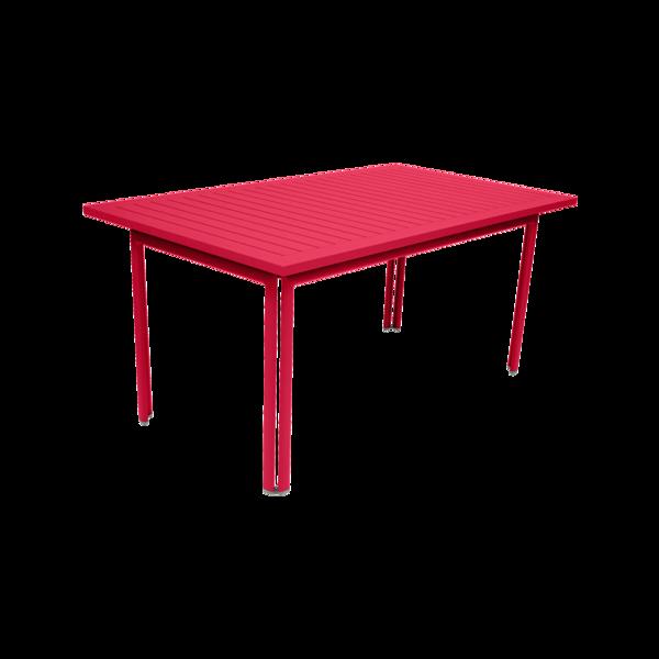 table metal, table de jardin, table rectangulaire, table rose, table 8 personnes