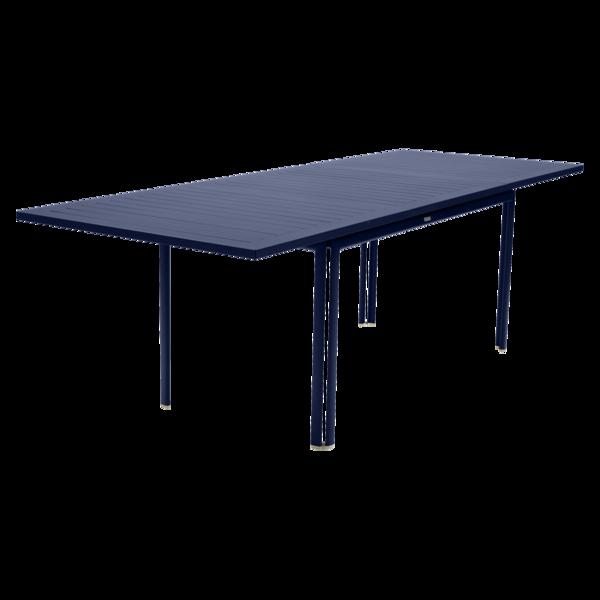 table de jardin, table metal rallonge, grande table de jardin, table metal bleu