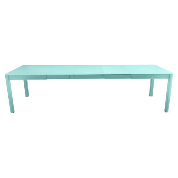 table de jardin bleu, table metal allonge, table metal a rallonge, table metal rectangulaire, table fermob allonge