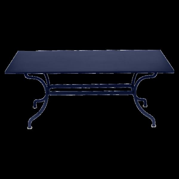 table de jardin, table metal, table rectangulaire, table 8 personnes, table bleu