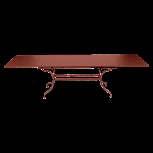 Table à allonges 200/300 x 100 cm romane ocre rouge