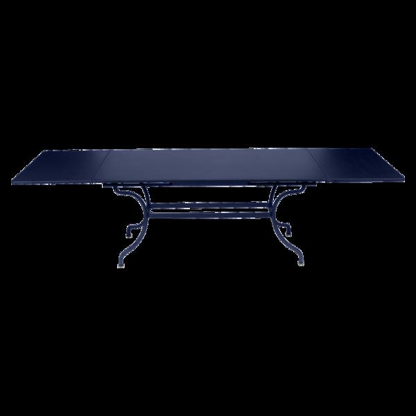 table de jardin a allonge, table metal rallonge, grande table rectangulaire, grande table bleu