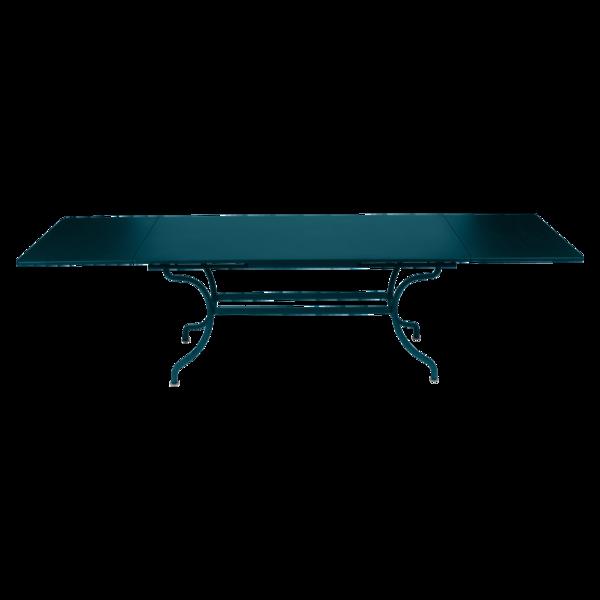 Table à allonges 200/300 x 100 cm romane bleu acapulco