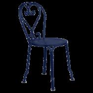 chaise metal, chaise a volute, chaise bleu