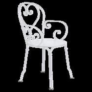 chaise metal, chaise de jardin, chaise a volute, chaise blanche