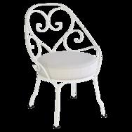 fauteuil de jardin, fauteuil metal avec coussin, fauteuil romantique