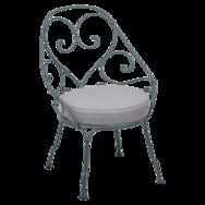 fauteuil de jardin, fauteuil volute, fauteuil fermob, fauteuil gris