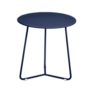tabouret bas metal, table de chevet, table d appoint, petite table basse bleu fonce