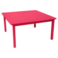 table metal, table de jardin, table carree, table rose, table 8 personnes