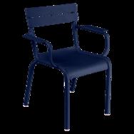 chaise metal, chaise fermob, chaise de jardin, chaise bleu, chaise avec accoudoir