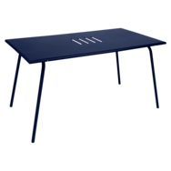 table de jardin, table metal, table rectangulaire, table 6 personnes, table bleu