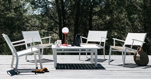 Fauteuil bas Costa, fauteuil de jardin en toile pour salon de jardin