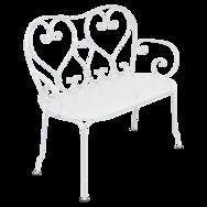 banquette 1900, banc de jardin, banc metal, petit banc en metal, banc blanc